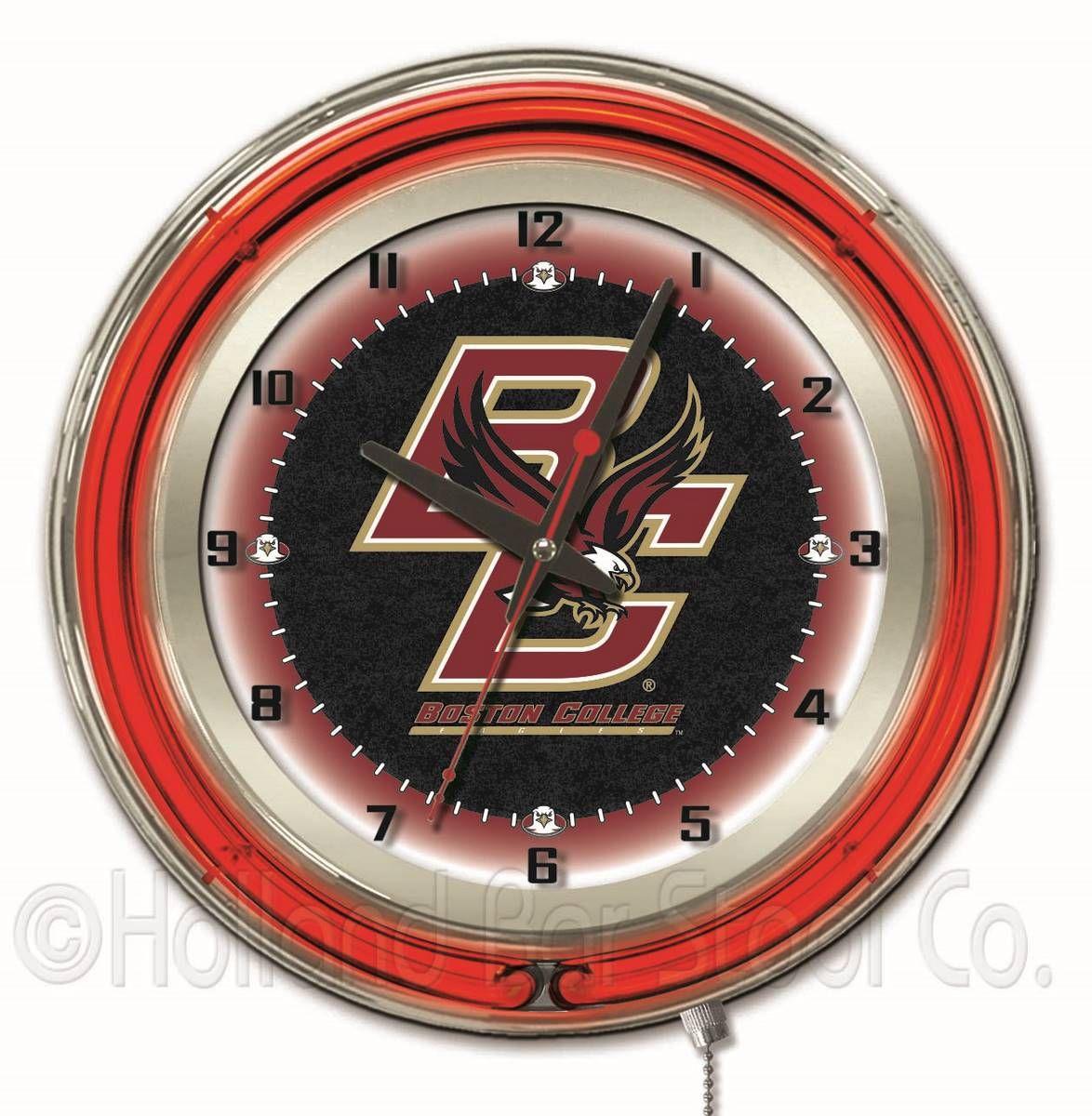 Boston College Eagles 19 Logo clocks, Neon clock, Boston