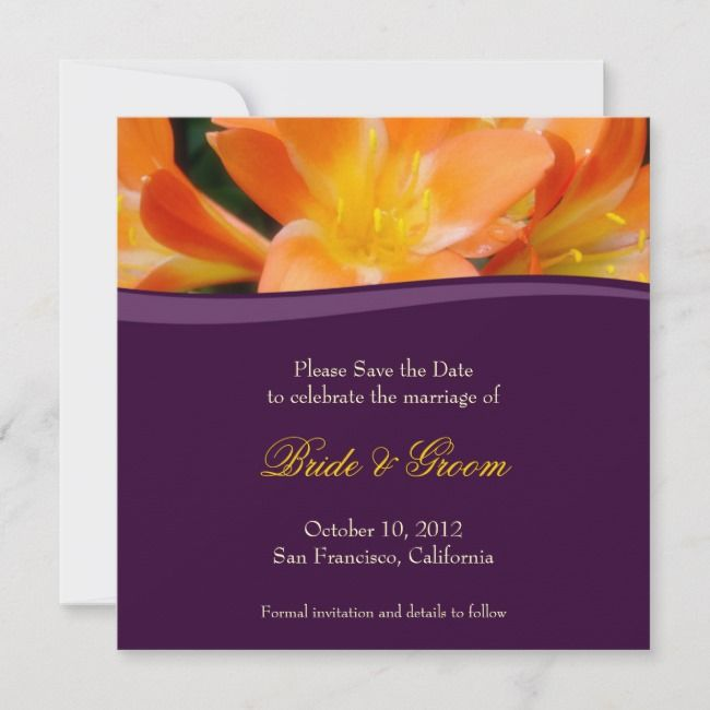 Purple And Orange Save The Date Invitation Zazzle Com Save