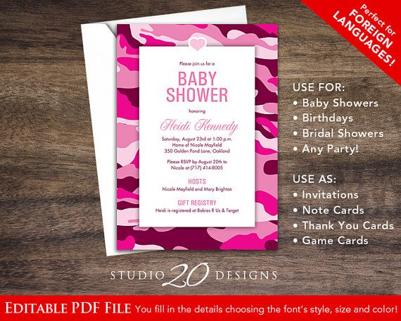 Instant Download Hot Pink Camo Baby Shower Invitations Editable Pdf
