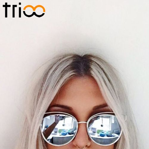 f1fe9de1cb1cae TRIOO 2017 New Flat Mirror Sun Glasses For Women Gold Frame lunette Metal  Cateye Shades Chic Ladies Summer Sunglass   Price   12.34   FREE Shipping  ...
