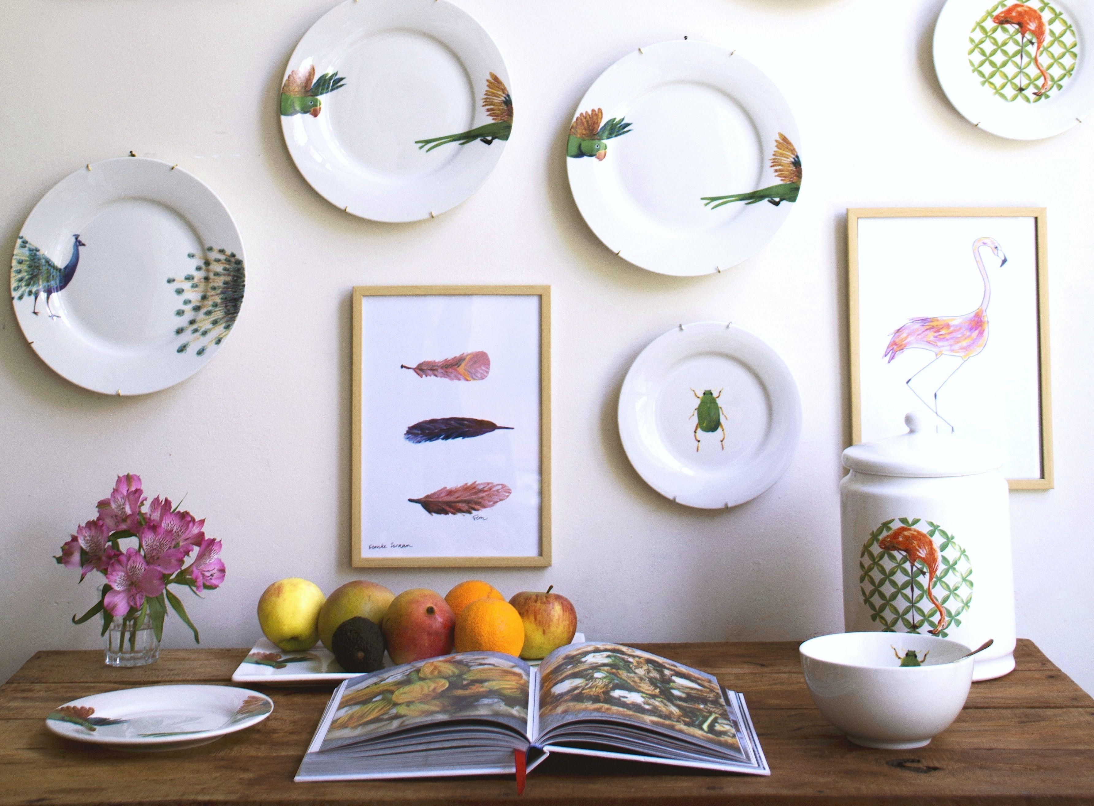 Catchii inspiration wall, beetle, lovebirds, flamingo, peacock, dinnerplates, illustrations, tableware