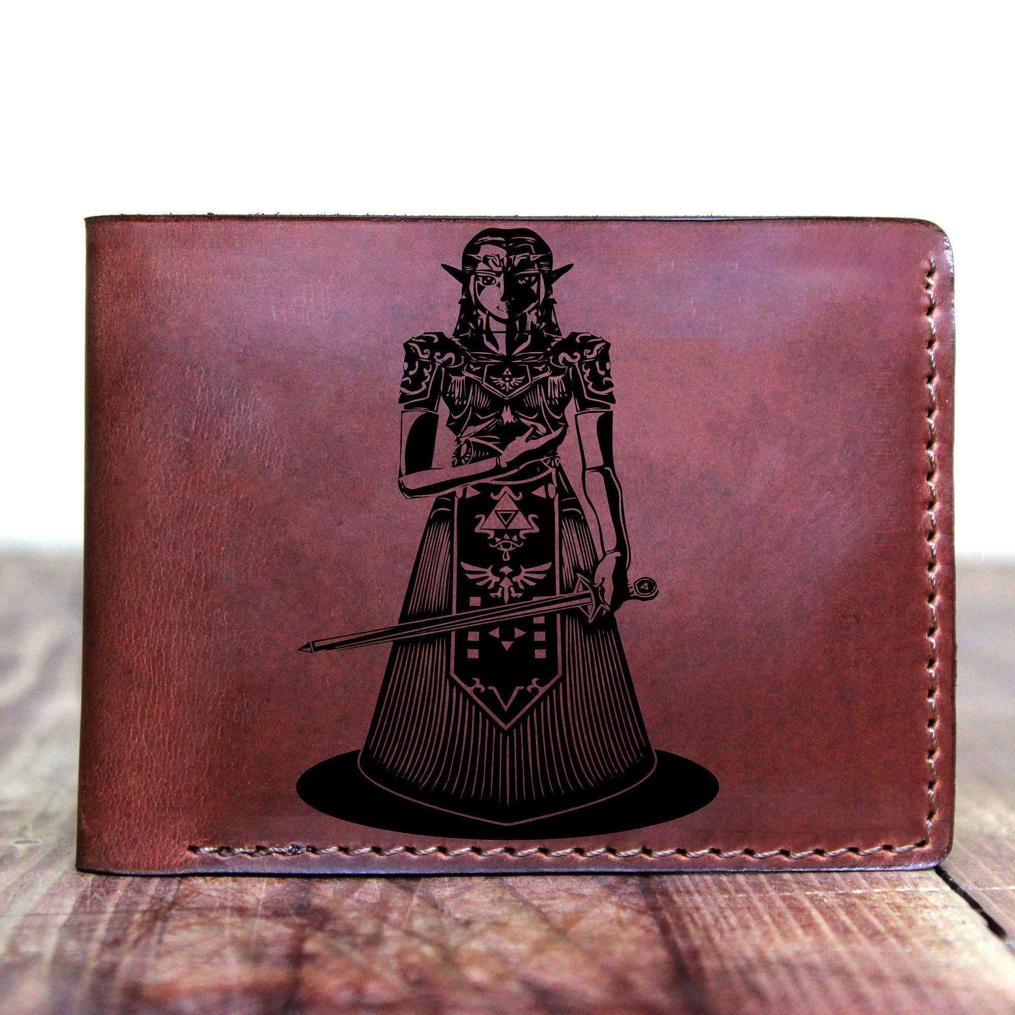 Princes of Zelda - leather custom bifold wallet, Zelda Man wallet, Triforce leather custom wallet, Personalized wallet, Man gift#bifold #custom #gift #leather #man #personalized #princes #triforce #wallet #zelda