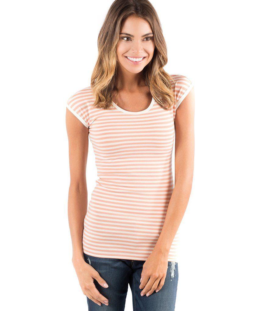 Classic Tee - Orange Stripe   Tees, Cute outfits, Cap sleeves