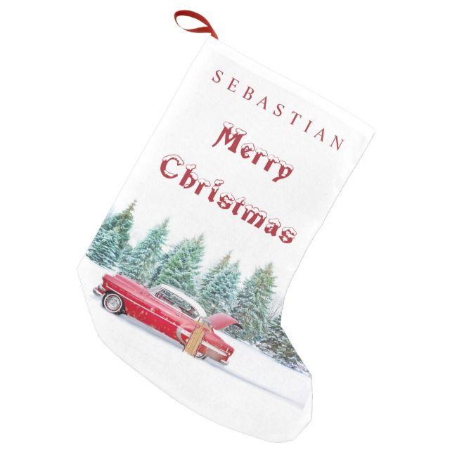 VINTAGE RED CAR Snowy Trees Custom Christmas Small Christmas Stocking