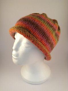 Easy Stripes Rolled Brim Beanie Hat Knit Beanie Pattern Hat Knitting Patterns Knitting Patterns