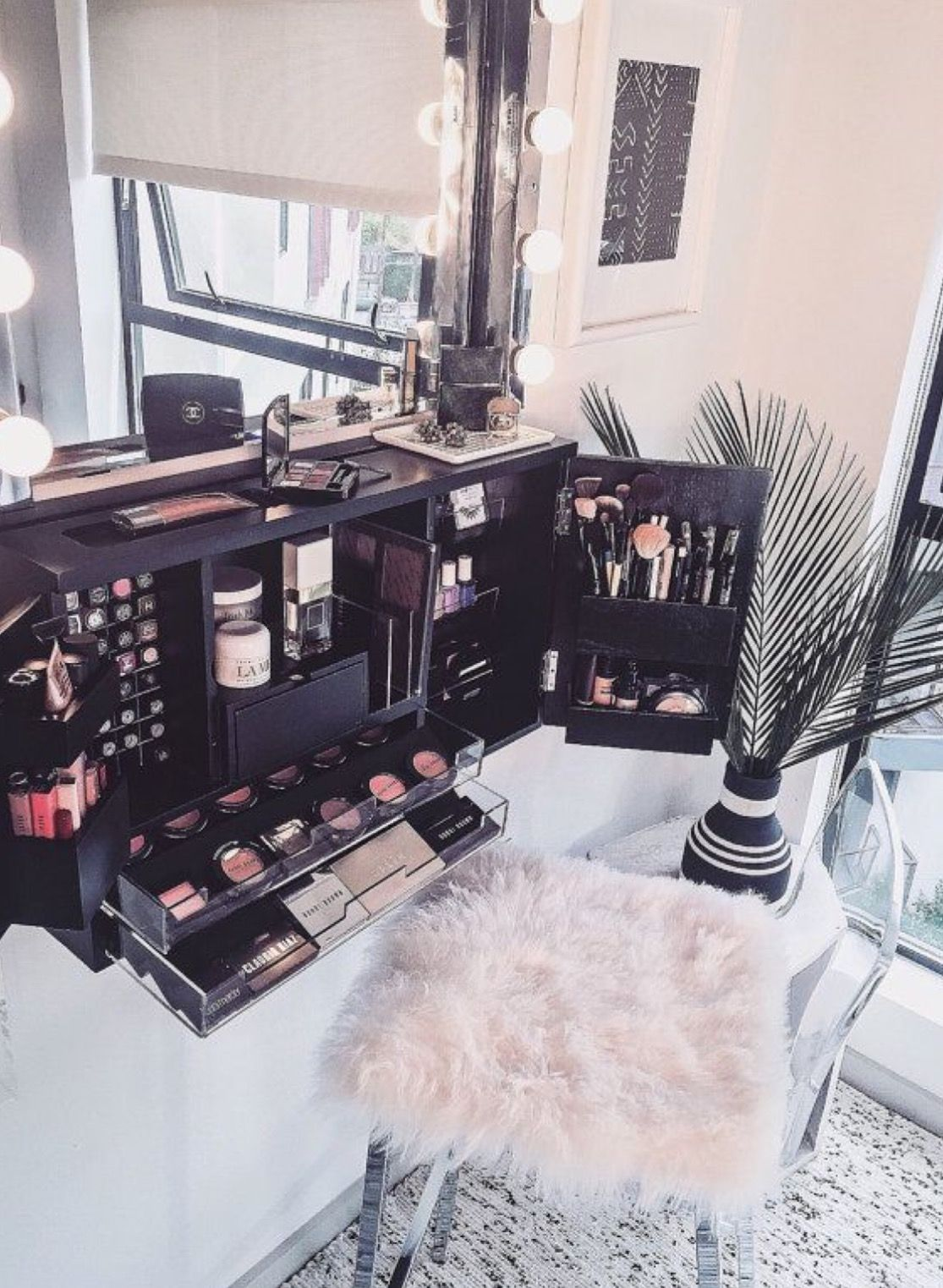 Love this little makeup studio for home, or even for