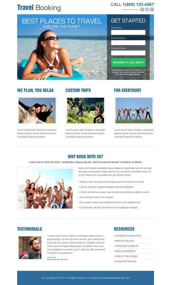 4 best travel landing page design templates travel booking agency ...
