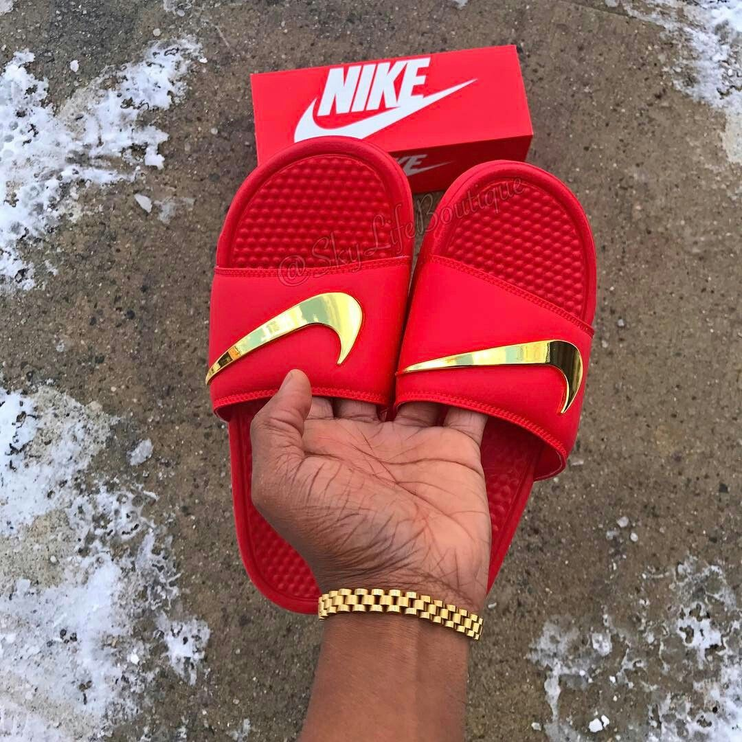 nike slippers with gold check