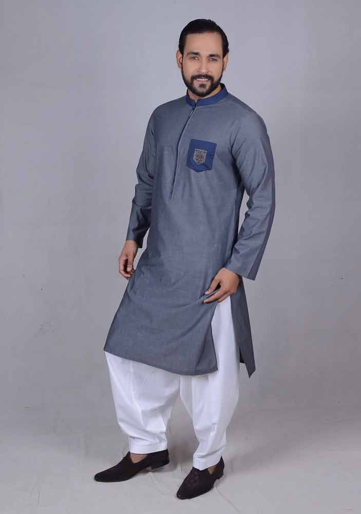 edaad90331 new blue best pakistani men kurta shalwar kameez designs 2017 with white  shalwar
