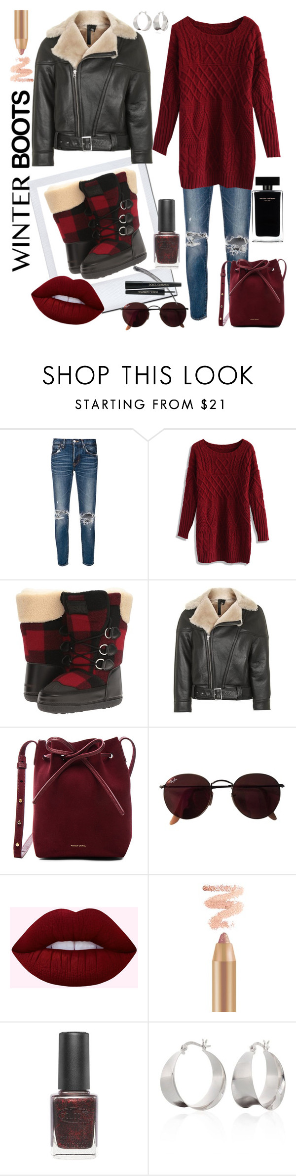 """Winter Boots in Plaid"" by hollybgdesigns ❤ liked on Polyvore featuring moussy, Chicwish, Dsquared2, Topshop, Mansur Gavriel, Ray-Ban, Narciso Rodriguez, Color Club, Belk & Co. and Boots"