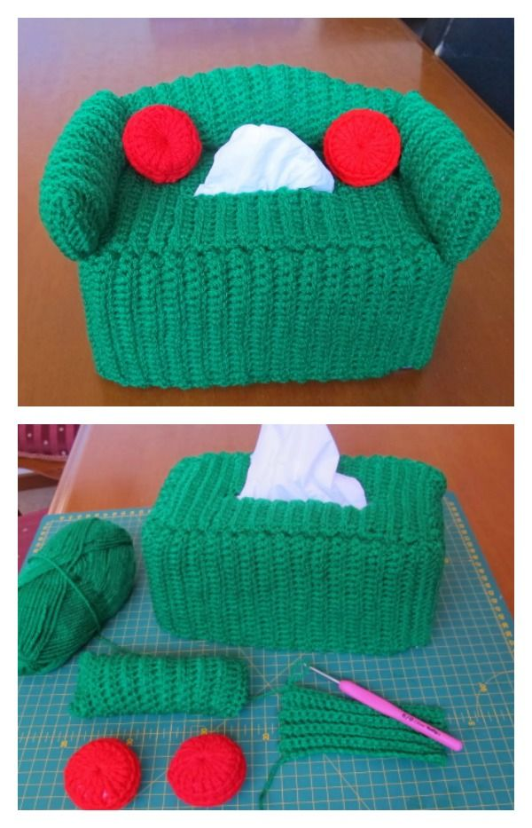Free Crochet Couch Tissue Box Cover