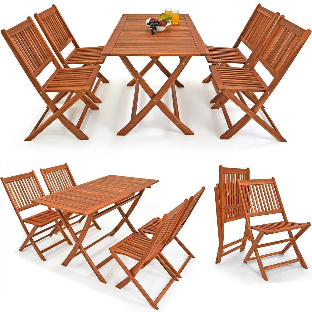 piece dining set patio table and chairs wooden folding outdoor