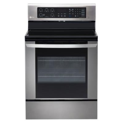 Lg Electronics 6 3 Cu Ft Electric Range With Easyclean Convection Oven In Stainless Steel Lre3061st The Home Depot In 2020 Freestanding Electric Ranges Electric Range Convection Range
