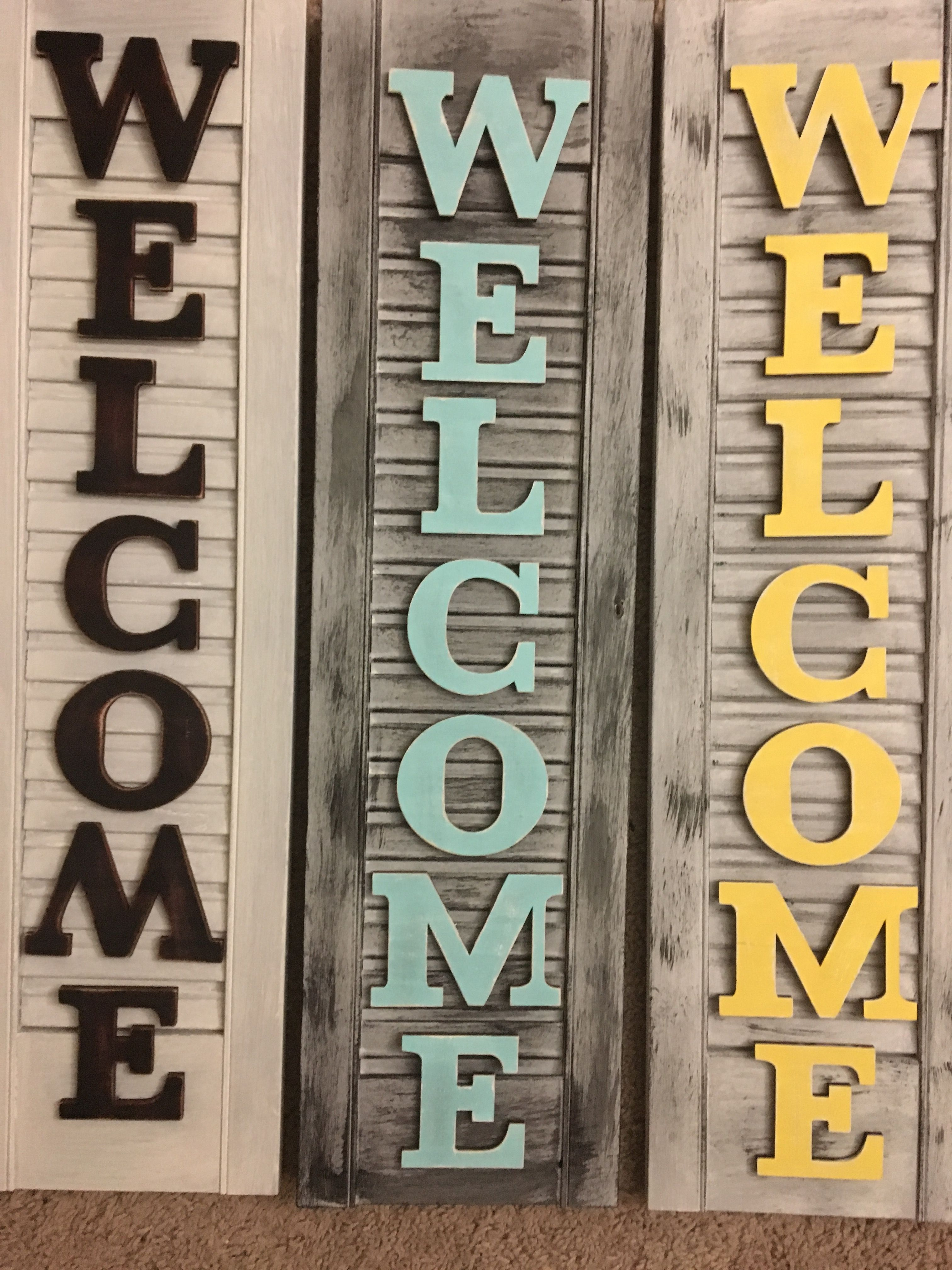 Repurposed shutters. Welcome sign | Creative and Crafty | Pinterest ...