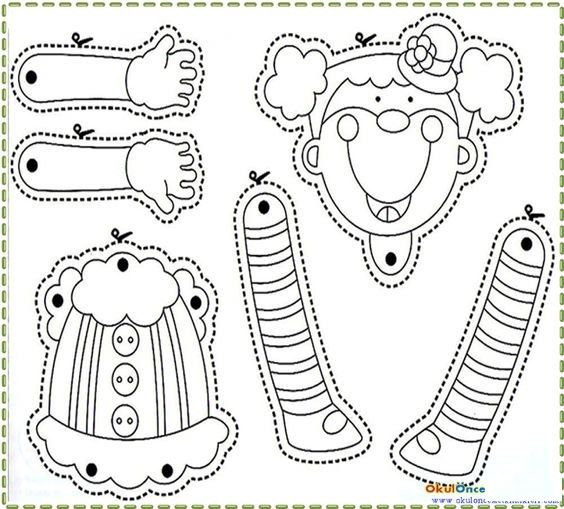 clown puppet template crafts and worksheets for preschool toddler