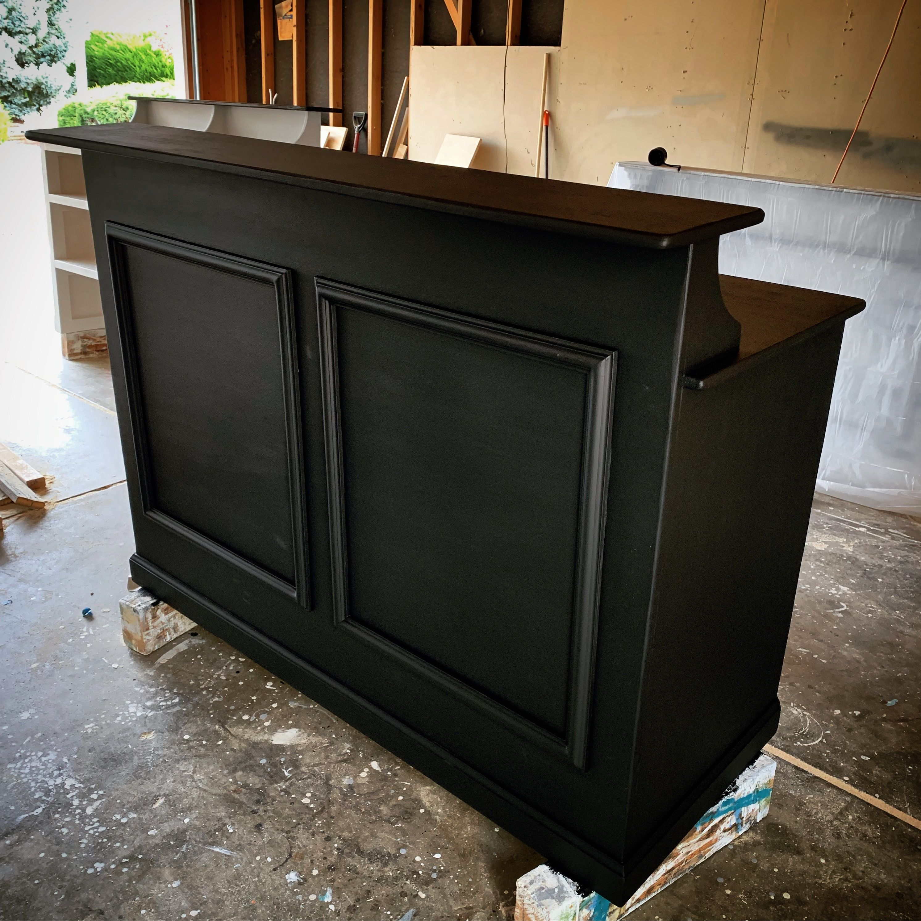 Reception Desk In Black By Oursolecreations Reception Desk Counter Reception Desk Shop Reception Desk