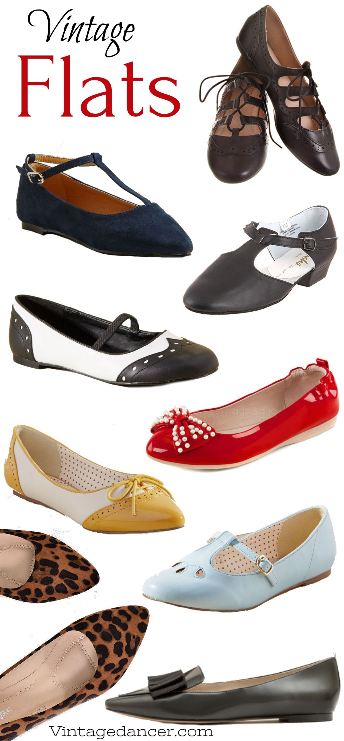 e26d21446 Vintage Flats Shoes for every decade: 1910s, 20s, 30s, 40s, 50s, 60s