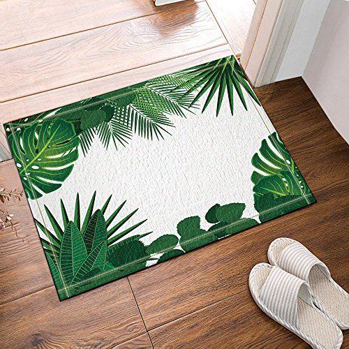 Nymb Tropical Plants Banana Leaves Palm Trees Bath Rug Non Slip Floor Entryways Outdoor Indoor Front Door Mat 60x40c Front Door Mats Bathroom Rugs Banana Leaf