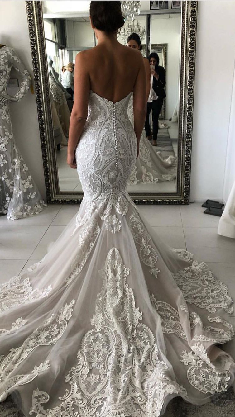 Charming Sweetheart Mermaid Wedding Dresses With Appliquess Wd293 In 2021 Long Train Wedding Dress Mermaid Wedding Dress Wedding Dresses Lace [ 1339 x 754 Pixel ]
