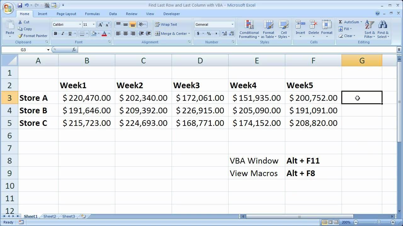 Excel Macro VBA Tip 17 - Find Last Row and Last Column with VBA | Excel  macros, Excel, Column