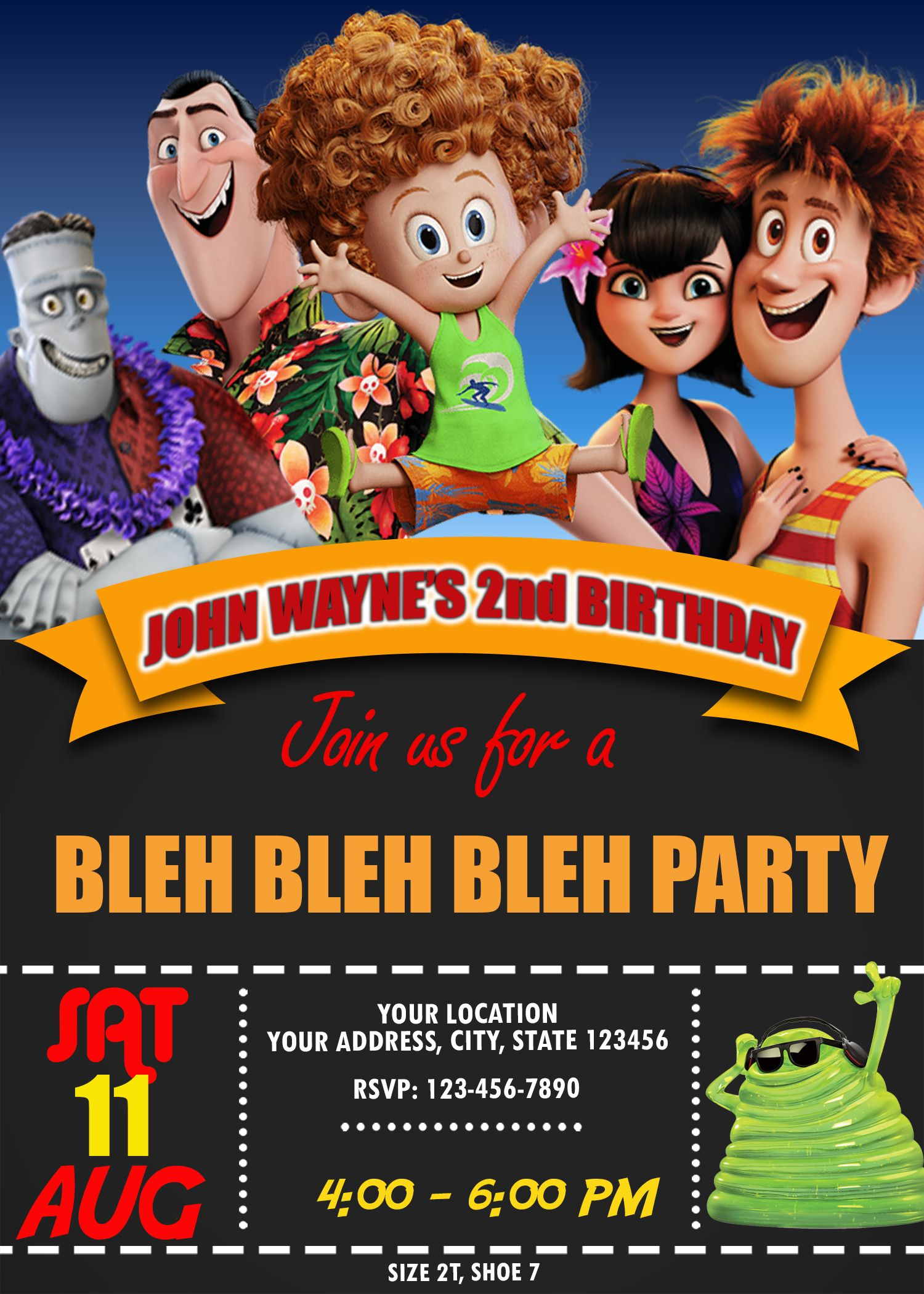 Hotel Transylvania 3 Birthday Invitation With Images Hotel