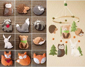 Fox baby mobile / woodland nursery decor/ felt forest animals /  gift for kids/ children/ girls/ boy