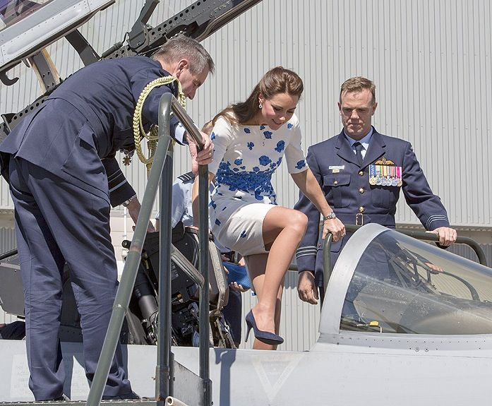 The Duchess of Cambridge climbing into a fighter jet in heels! She is the only person who could do this so gracefully