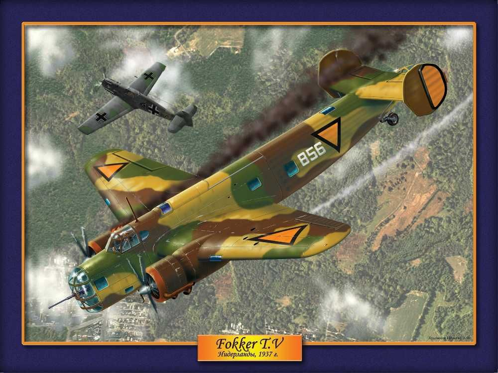 """The Fokker T.V was a twin-engine bomber, described as an """"aerial cruiser"""",[1] built by Fokker for the Netherlands Air Force.  It was modern for its time, but by the German invasion of 1940, it was outclassed by the airplanes of the Luftwaffe. Nevertheless, the T.V was used with some success against the German onslaught."""