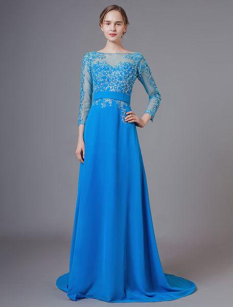 Photo of Robes de mère de la mariée bleu mousseline de …