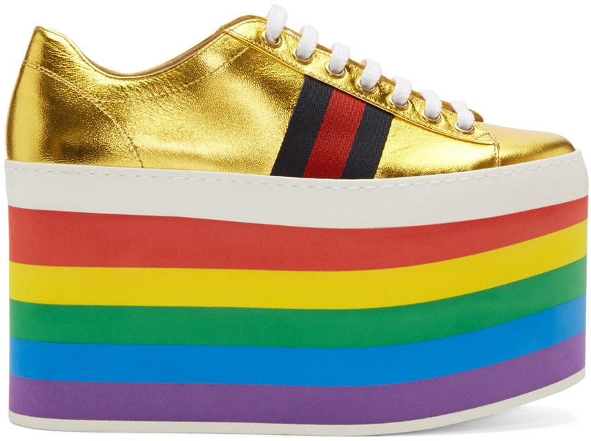 d9ea4f96770 GUCCI Gold Peggy Platform Sneakers.  gucci  shoes  sneakers