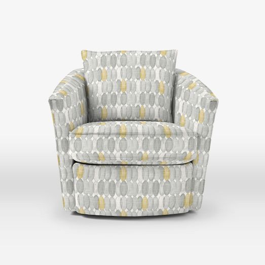 Duffield Swivel Chair   Prints | West Elm   Painted Ovals Gray/yellow $849