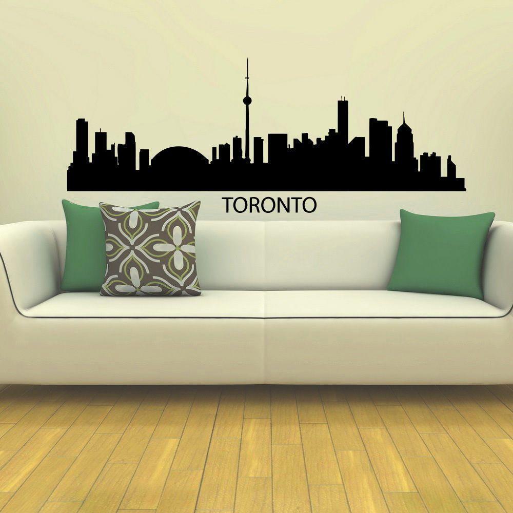 Toronto Skyline City Silhouette Vinyl Wall Art Decal Sticker - Custom vinyl wall decals toronto