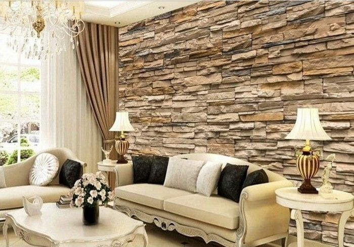 Wunderschöne Tapete Steinoptik Beige Farbe