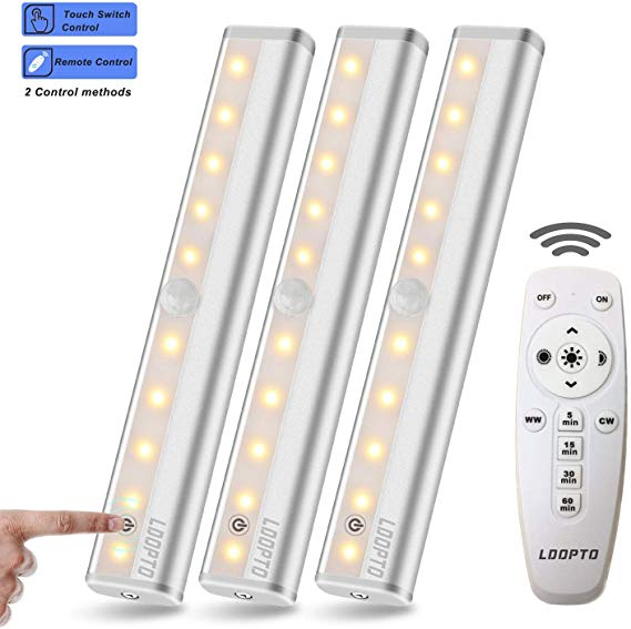 Ldopto Wireless Under Counter Lighting 3 Pack With Remote Control Led Under Cabinet Under Counter Lighting Battery Operated Lights Motion Sensor Closet Light