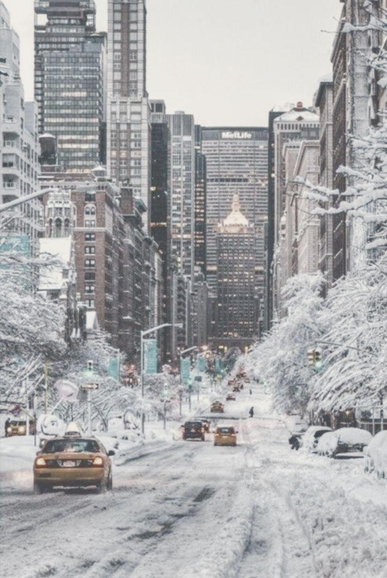 A L L I E Nyc Christmas Winter City New York Iphone Wallpaper