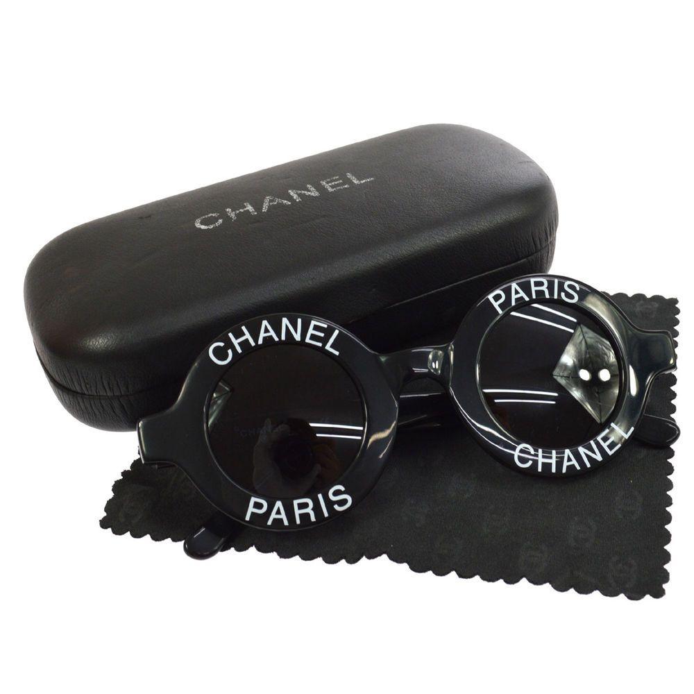 e6257e544a866 Authentic CHANEL Vintage CC Logos Round Sunglasses Eye Wear Black TG01591