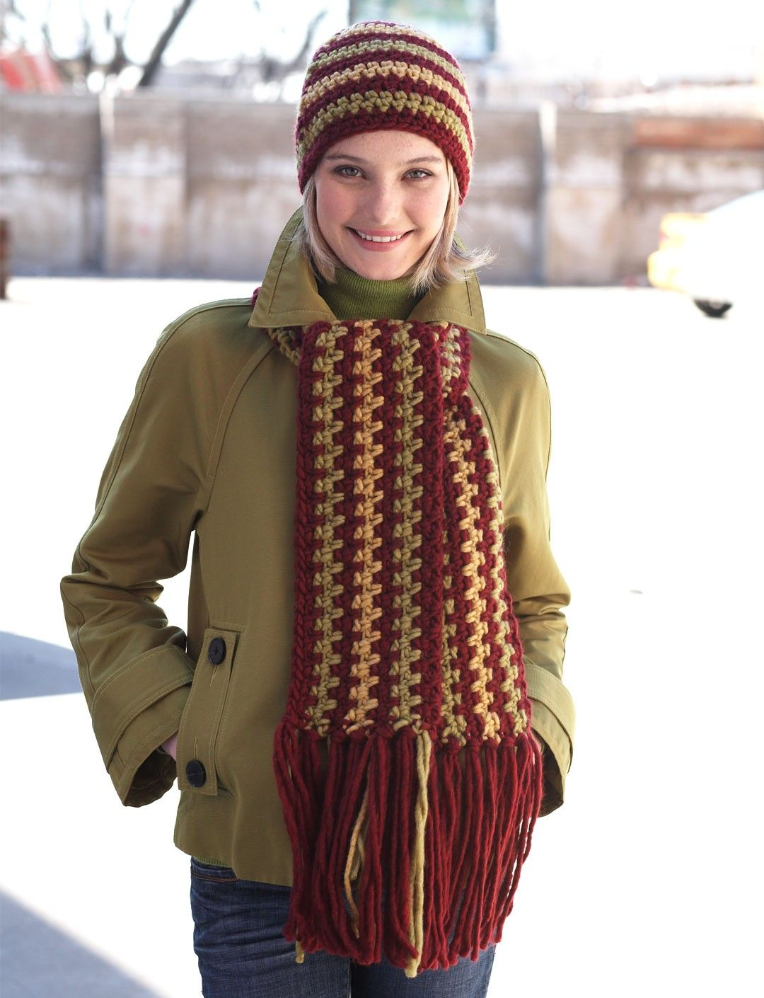 Free crochet pattern levelbeginner yarn 5 bulky the beautiful bold colors of bernat roving make this hat and scarf set perfect for the chilly weather crochet this free scarf and hat pattern for yourself bankloansurffo Image collections