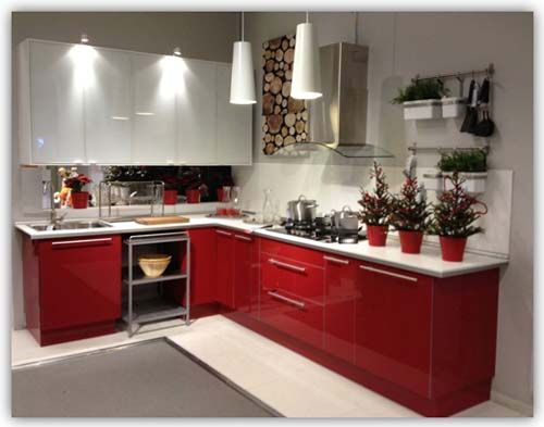 Red And White L Shaped Kitchen Cabinet Part 59