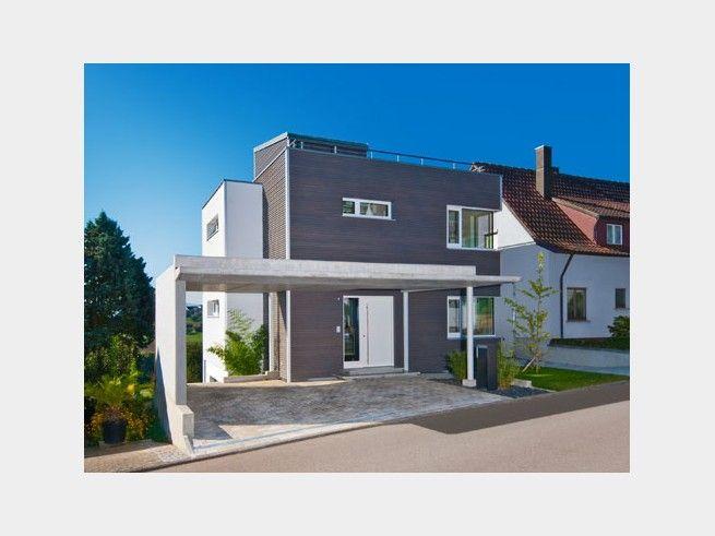 Stadtvilla modern garage  Bauhaus Wiesenhütter - #Einfamilienhaus von Baufritz | HausXXL ...