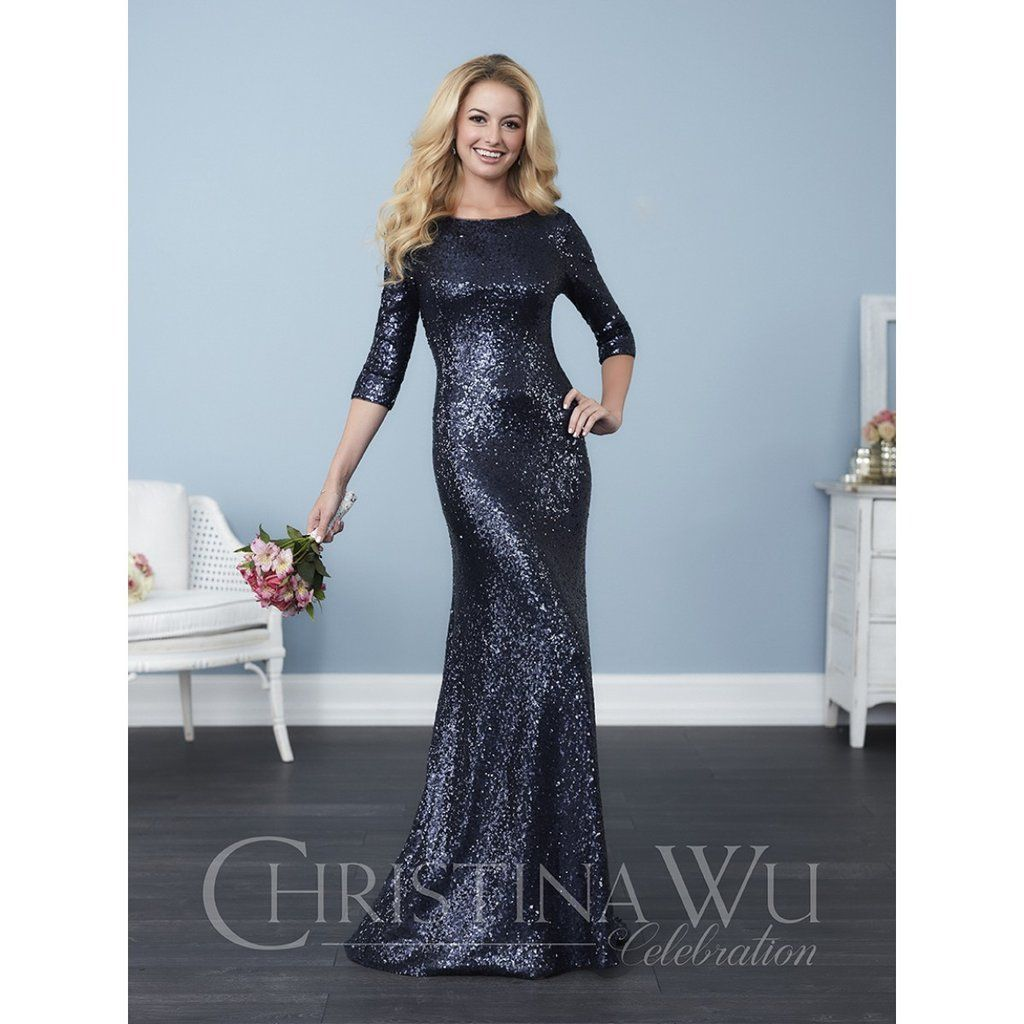 Christina wu celebration sleeve sequin floor length