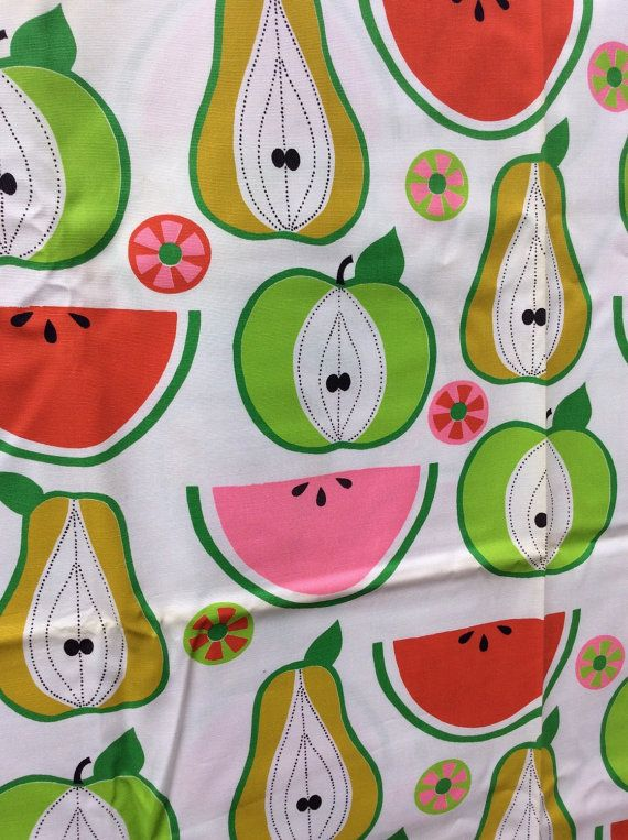 1960s Vintage Kitchen Upholstery Fabric With Fruit (3 1/4 Yards)