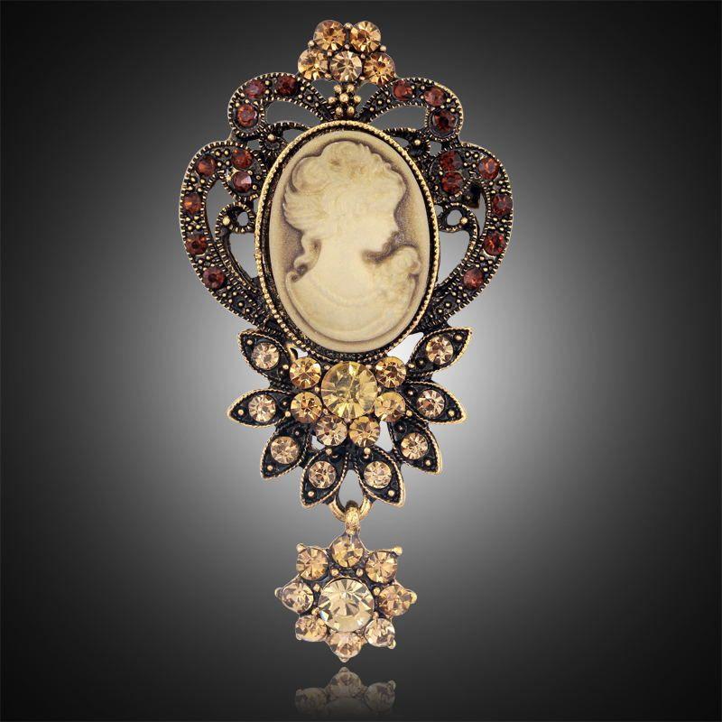 cameo brooch silver jewelry Cameo brooch rhinestone gold brooch
