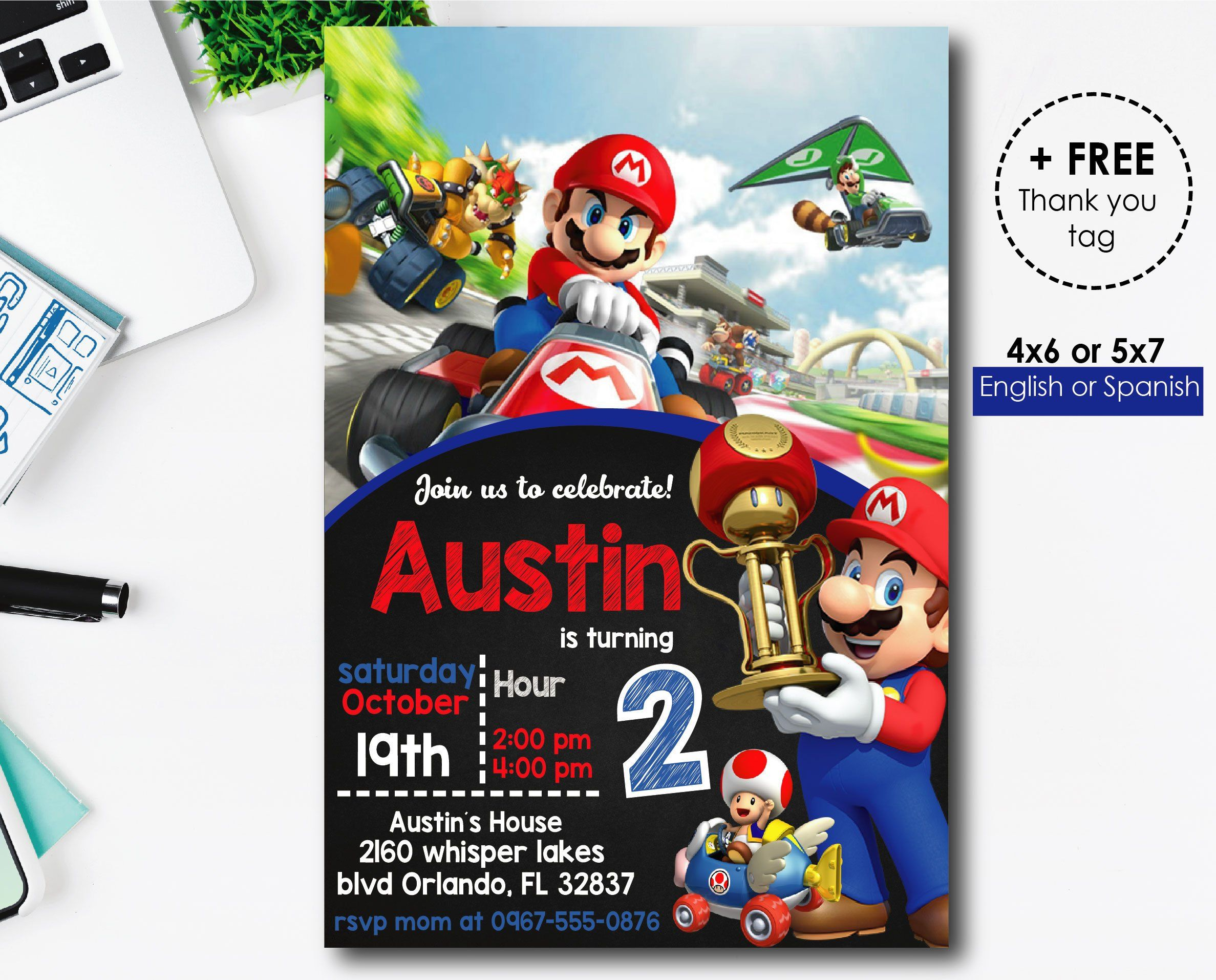 mario kart birthday invitations mario