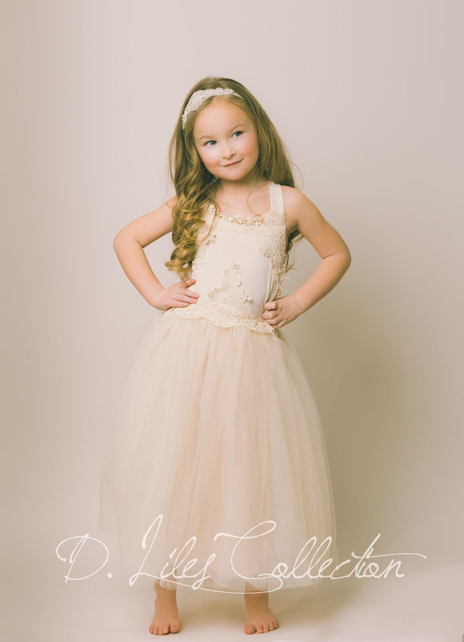 22196714f5b Evangeline Flower Girl Dress in Blush. My flower girl