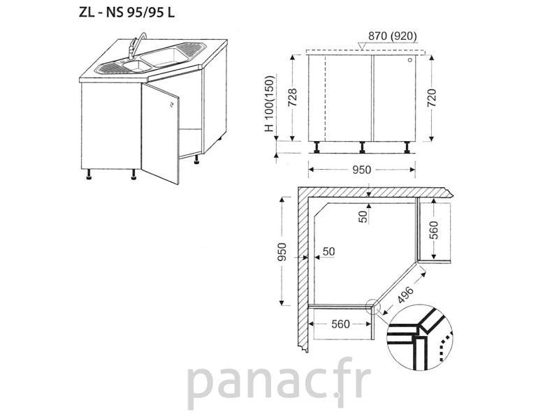 Meuble d\u0027angle sous-évier ZL-NS 95/95 L Evier angle Pinterest
