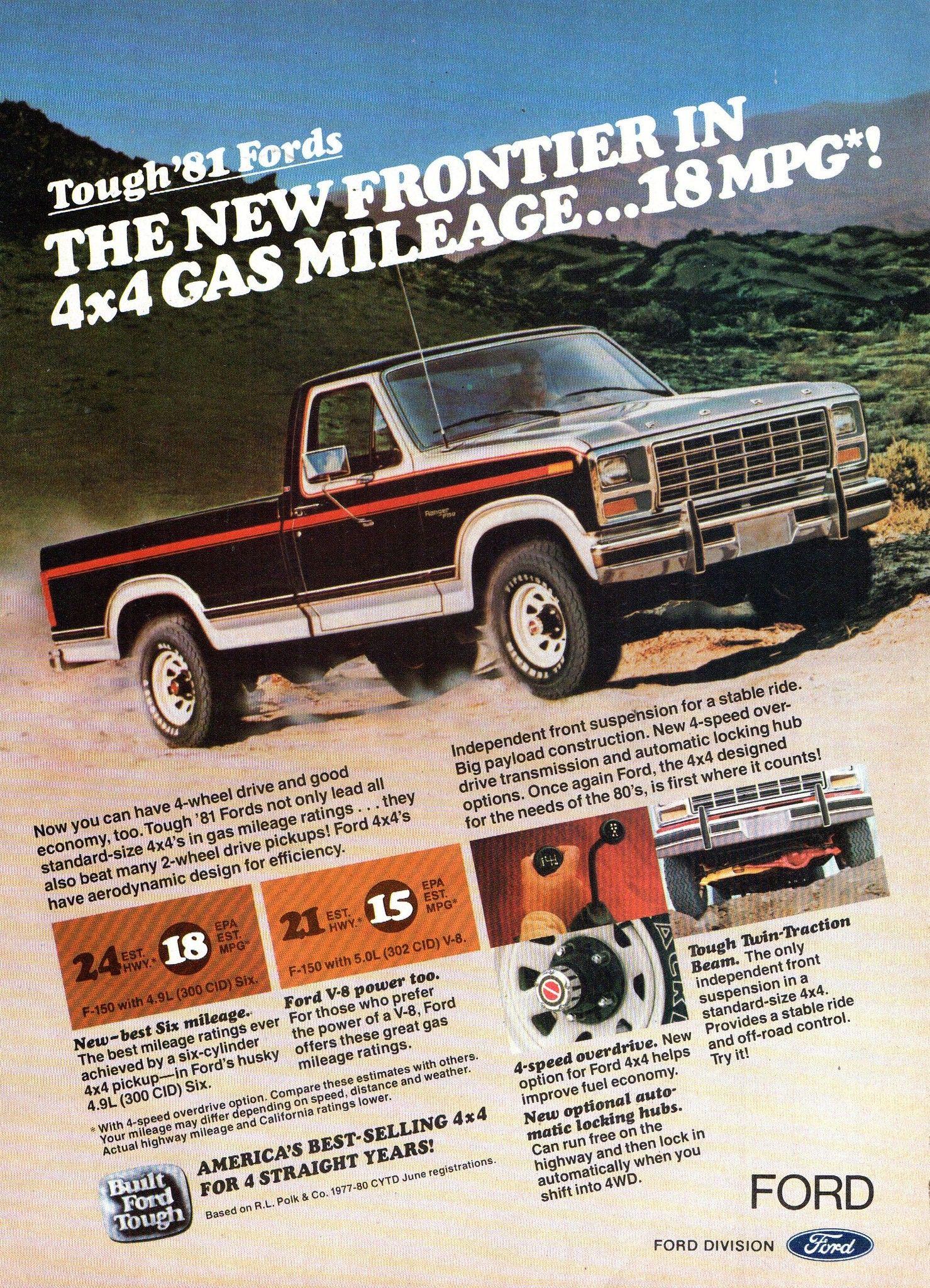 1981 Ford F Series 4wd Pickup Truck Usa Original Magazine Advertisement Pickup Trucks Ford Pickup Ford Trucks