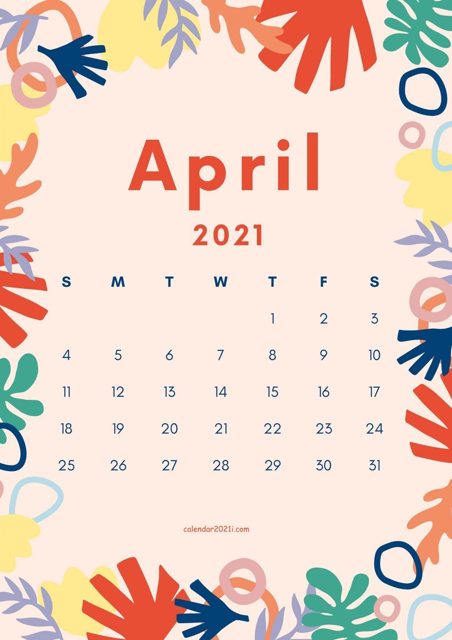 April 2021 Cute Calendar Design in 2020 | Calendar design ...