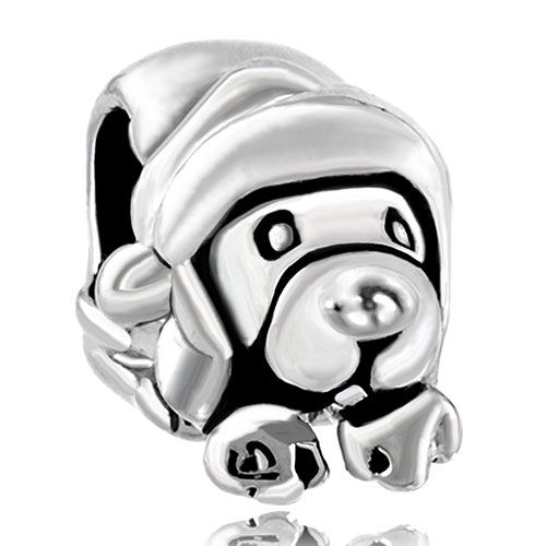 Dog Charm Bracelet Silver Cute Puppy Dog Charm Bracelet European Infant Charm Bead Pugster.com