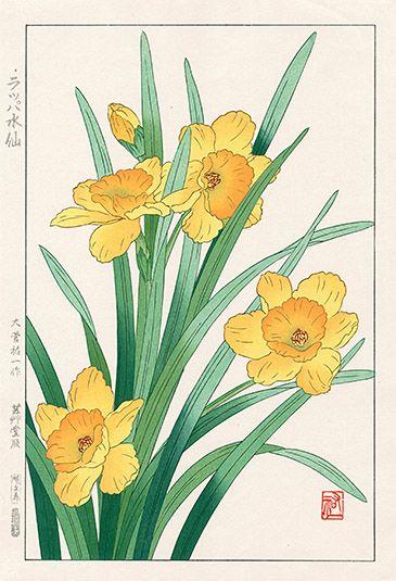 Shodo Kawarazaki Spring Flower Woodblock Prints Japanese Woodblock Printing Blossoms Art Daffodils