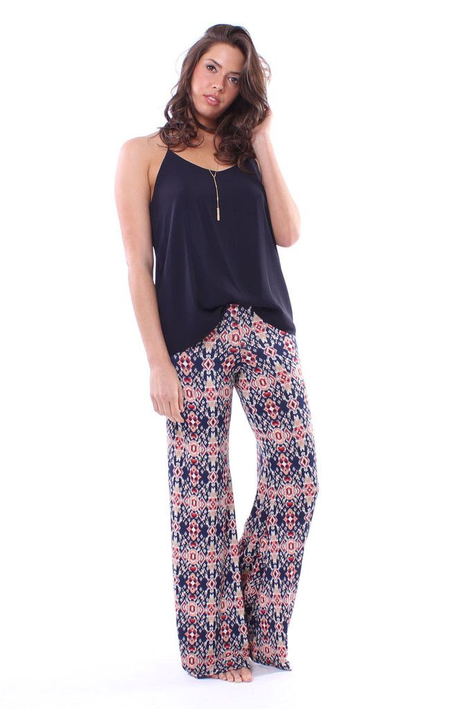 Your favorite summer pant is back from Veronica M. Wide leg printed pants with elastic waistband. classic slinky, comfortable fabric great for Summer & Spring 2016